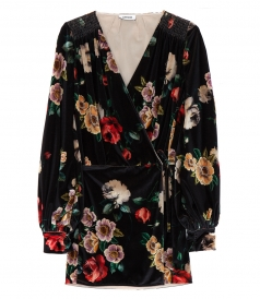 FLORAL PRINTED VELVET ROBE DRESS