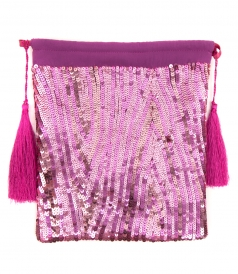 CLUTCHES - PINK SEQUINED POUCH BAG