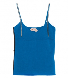 CLOTHES - RHINESTONE EMBELLISHED CAMI TOP FT APPLIQUE STRIPES