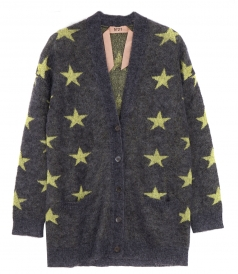 STAR PRINT BUTTONED KNIT CARDIGAN