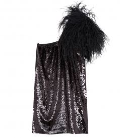 ONE-SHOULDER FEATHER DETAILING SEQUINED DRESS