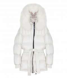 WHITE BELTED OVERCOAT FT RACCOON FUR TRIMMED HOOD