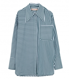 SHIRTS - OVERSIZED POINTED COLLAR STRIPE SHIRT