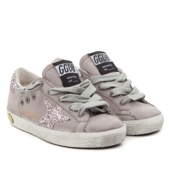 SHOES - SUPERSTAR SNEAKERS IN GREY FT GLITTER DETAILING