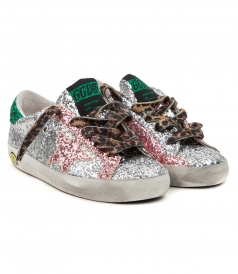 SHOES - SUPERSTAR MULTI GLITTER SNEAKERS FT LEOPARD LACES