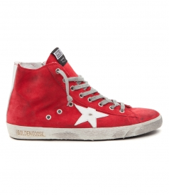 GOLDEN GOOSE DELUXE BRAND - FRANCY SNEAKERS IN RED SUEDE FT WHITE STAR PATCH