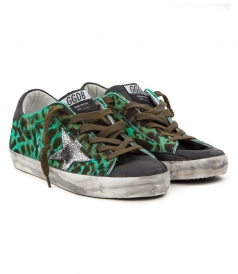 SUPERSTAR SNEAKERS IN GREEN LEOPARD PRINT FT GLITTER STAR PATCH