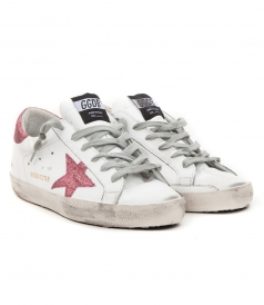 SUPERSTAR SNEAKERS IN WHITE FT PINK GLITTER DETAILING