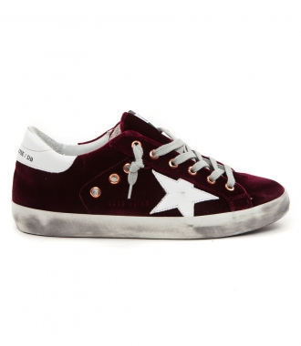 SUPERSTAR SNEAKERS IN BORDEAUX VELVET