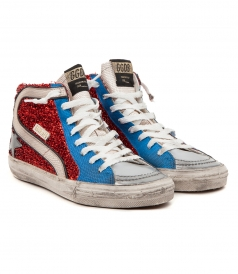 SHOES - SLIDE SNEAKERS IN GLITTER RED & BLUE