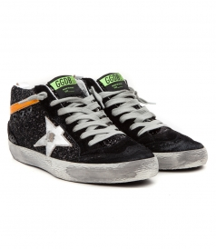 MID STAR SNEAKERS IN BLACK GLITTER FT CONTRASTING DETAILS