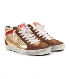 MID STAR SNEAKERS IN LAMINATED GOLD FT CONTRASTING DETAILS