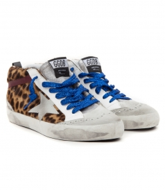 MID STAR SNEAKERS IN ANIMAL PRINT FT BLUE GLITTER LACES