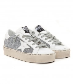 HI STAR SNEAKERS IN CRYSTAL GLITTER FT WHITE DETAILING