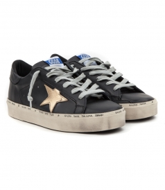 HI STAR SNEAKERS IN BLACK MATTE FT GOLD STAR PATCH