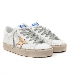 HI STAR SNEAKERS IN WHITE FT GOLD STAR PATCH