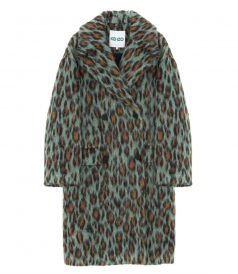 LEOPARD HAIRY BUTTONED COAT