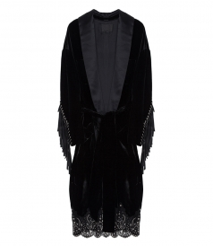 OVERSIZED VELVET ROBE WITH LACE HEM