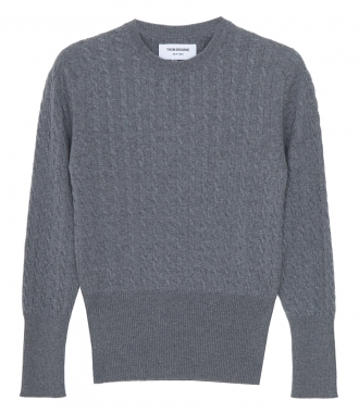 THOM BROWNE NEW YORK - BABY CABLE CREW NECK PULLOVER