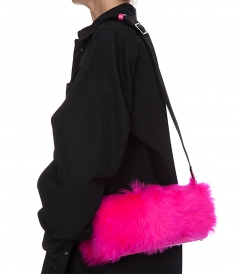 RAY BAGUETTE FURRY CROSSBODY BAG
