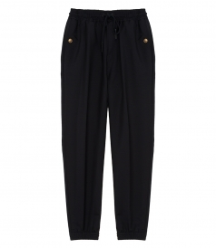 MOHAIR WOOL BLEND TRACK PANTS FT 4G GOLD-TONE BUTTONS