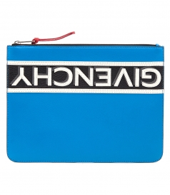 LARGE ZIPPED POUCH IN ELECTRIC BLUE