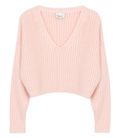 OVERSIZED CROPPED RIBBED MOHAIR PULLOVER