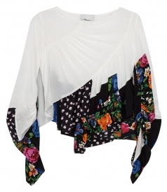 RUFFLE-LAYERED FLORAL BLOUSE