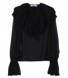 SEE TROUGH RUFFLED V-NECK BLOUSE