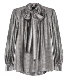 CLOTHES - METALLIC PUSSY BOW BLOUSE