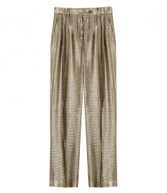 PANTS - METALLIC HIGH-WAISTED TROUSERS