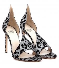 SHOES - GLITTERING LEOPARD SUEDE SANDALS