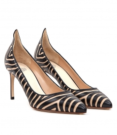 SHOES - ZEBRA PATTERNED FLAME POINTY PUMP