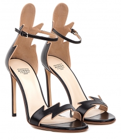 FRANCESCO RUSSO - KID LEATHER BICOLORED FLAME SANDALS IN BLACK & NUDE
