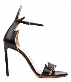 KID LEATHER BICOLORED FLAME SANDALS IN BLACK & NUDE