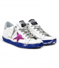 SUPERSTAR SNEAKERS FT CONTRASTING SOLE & FUSCHIA STAR PATCH