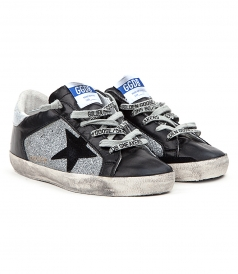 SUPERSTAR SNEAKERS IN SILVER GLITTERED INSERTS