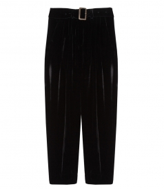 PANTS - VELVET PANTS WITH PLEATS & BELT