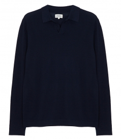 PULLOVERS - CONTRASTED MERINO WOOL POLO PULLOVER