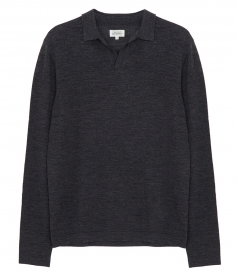 CLOTHES - CONTRASTED MERINO WOOL POLO PULLOVER
