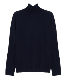 PULLOVERS - CONTRASTED MERINO WOOL ROLL NECK SWEATER