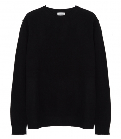 CLOTHES - CONSTRASTED WOOL & CASHMERE CREW NECK SWEATER