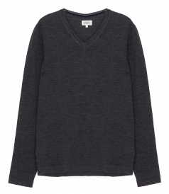 PULLOVERS - CONTRASTED MERINO WOOL V-NECK SWEATER