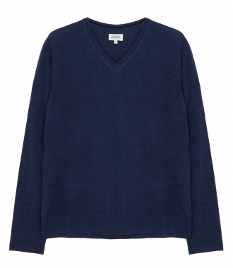 CONTRASTED MERINO WOOL V-NECK SWEATER