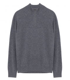 PULLOVERS - ZIP-UP HIGH NECK PULLOVER