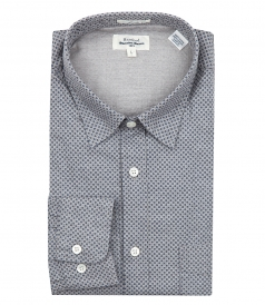 HARTFORD - NAVY MICRO PRINTED FLANNEL STORM SHIRT
