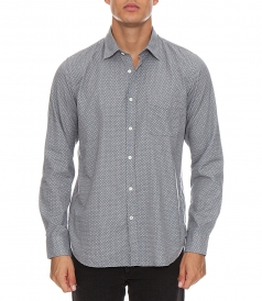 NAVY MICRO PRINTED FLANNEL STORM SHIRT