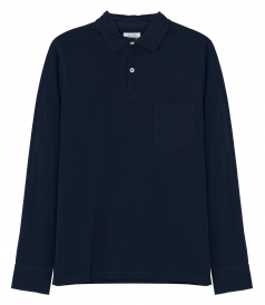 COTTON JERSEY LONG SLEEVE POLO SHIRT