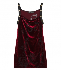 CLOTHES - VELVET MINI DRESS FT GOLD EMBELLISHED STRAPS