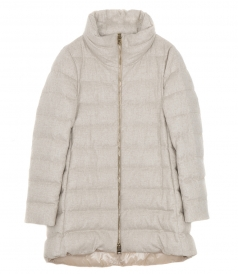 DOWN JACKETS - CASHMERE-SILK BLEND ZIP FRONT DOWN JACKET